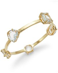 Kate Spade | Metallic Gold-tone Stone Station Bangle Bracelet | Lyst