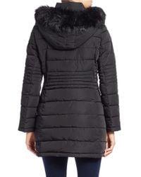 Calvin Klein Black Faux Fur-trimmed Puffer Coat