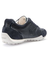 Geox Blue Snake Leather Lace Up Trainers