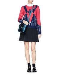KENZO Blue Sequin Appliqué Wool Sweater