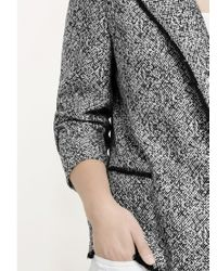 Violeta by Mango Black Flecked Cotton Blend Jacket