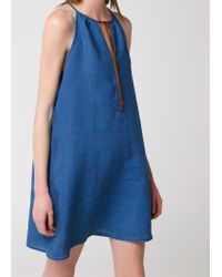 Mango Blue Linen Halter Dress