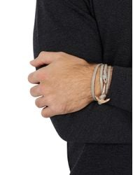 Miansai - Gray Grey Anchor Leather Wrap Bracelet for Men - Lyst