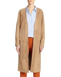 Theory Brown Ankan Suede Open-Front Duster Coat