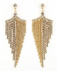 A.V. Max   Metallic Golden Rhinestone Chandelier Earrings   Lyst