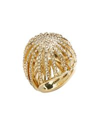 St. John | Metallic Swarovski Crystal Cocktail Ring - Light Gold | Lyst