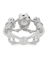 Alexander McQueen - Metallic Silver Tone Skeleton Ring - Lyst