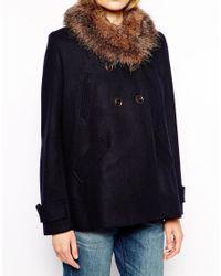 Parka London - Blue Lottie Wool Pea Coat With Detachable Faux Fur Collar - Lyst
