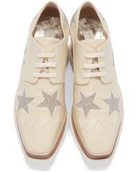 Stella McCartney - Natural Beige Star Platform Elyse Derbys - Lyst