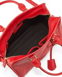 Alexander McQueen - Red Small Skull Padlock Leather Satchel Bag - Lyst