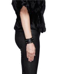 Valentino Black 'rockstud' Double Wrap Leather Bracelet