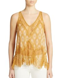 Free People - Yellow Lace Gauze Printed Top - Lyst