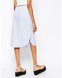 Monki - Multicolor Stripe Midi Skirt - Lyst