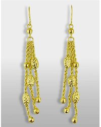 Lord & Taylor | 14 Kt. Yellow Gold Triple Strand Drop Earrings | Lyst