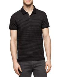 Calvin Klein | Black Jersey Engineered Stripe Polo for Men | Lyst