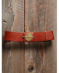 Free People - Brown Vintage Wide Leather Belt - Lyst