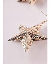 Missguided | Metallic Filigree 3d Star Earrings | Lyst