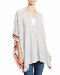 Aqua | Gray Cashmere Cashmere Stripe Snap Front Poncho | Lyst