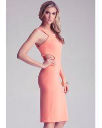 Bebe Orange Multi Keyhole Midi Dress