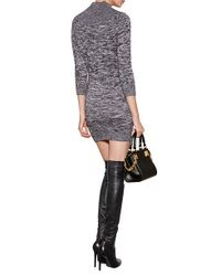 DSquared² - Gray Sweater Dress With Brooch - Grey - Lyst