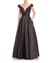 Jovani | Black Taffeta Floral-applique Ball Gown | Lyst