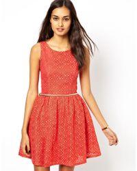 Little Mistress | Orange Lace Dress | Lyst