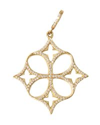 Loree Rodkin | Metallic Yellow Gold Open Quatrefoil Clover Cross Pendant | Lyst