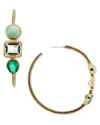 Stephen Dweck - Green Threestone Bronze Hoop Earrings - Lyst
