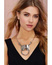 Nasty Gal - Metallic Bond Hitch Ring Leather Necktie Collar - Lyst