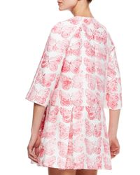 RED Valentino Pink Butterfly Print Coat Dress Hydrangea