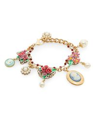 Dolce & Gabbana - Metallic Bead & Floral Two-row Bracelet/goldtone - Lyst