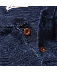 Alex Mill Blue Waffle-Knit Indigo-Dyed Cotton Henley T-Shirt for men