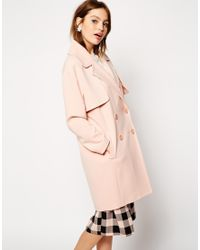 ASOS - Pink Coat In Cocoon Fit With Stormflaps - Lyst