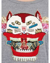 Lin Art Project Gray Wild Cat Embroidered Cotton Sweatshirt