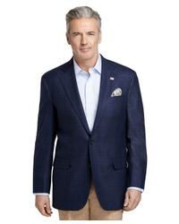 Brooks Brothers Blue Madison Fit Navy Plaid Saxxon® Sport Coat for men