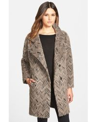 Trina Turk | Brown 'madison' Textured Wedge Coat | Lyst