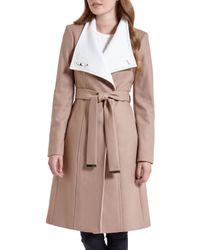Ted Baker Natural Lorah Long Wool Wrap Coat