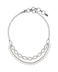 Elizabeth Cole Metallic Navette and Crystal Braided Necklace