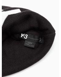Y-3 Black Intarsia Logo Beanie for men