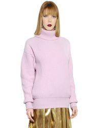 MSGM Pink English Rib Wool Turtleneck Sweater