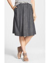Eileen Fisher - Black Gathered Chambray Skirt - Lyst