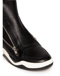 Ash Black 'farah' Neoprene Sock Zip Leather Sneakers