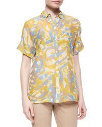 Lafayette 148 New York - Yellow Britlee Short-sleeve Kaleidoscope-print Blouse - Lyst