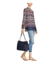 Tory Burch - Blue Thea Straw Center-zip Tote - Lyst