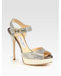 Jimmy Choo | Metallic Linda Glitter Coated Leather Platform Sandals | Lyst