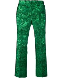 Gucci - Green Iridescent Floral Brocade Trousers - Lyst