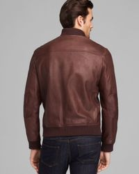Cole Haan Brown Varsity Leather Jacket for men