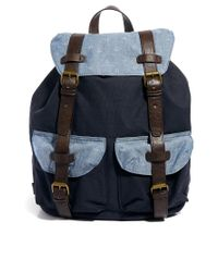 ASOS | Blue Backpack In Canvas With Leather Top for Men | Lyst