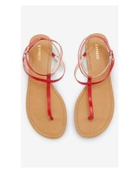 Express - Red Thin T-Strap Sandal - Lyst