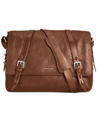 Cole Haan | Brown Pebbled Leather Messenger Bag for Men | Lyst